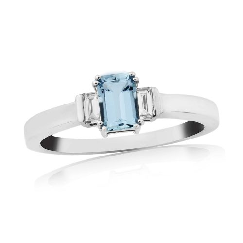 White gold baguette cut aquamarine and diamond trilogy ring